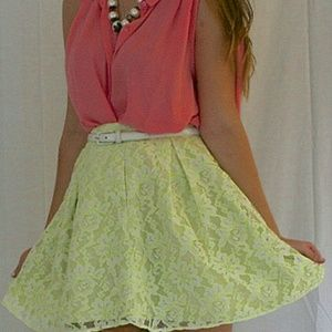 Romeo and Juliet Couture neon yellow and wht lace